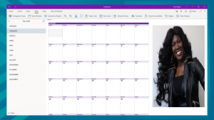 OneNote (Yearly) Calendar Template